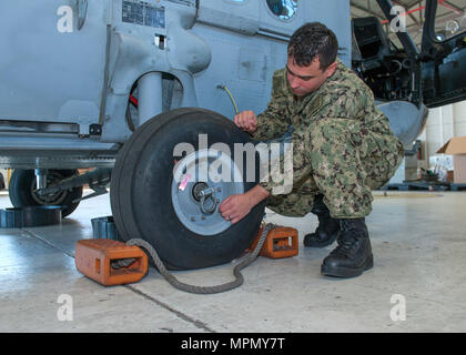 PANAMA CITY, Florida - Logistics Specialist Second Class Michael Semler explains how the smallest parts on the helicopter are important to its mission while performing a walk around the aircraft March 16, 2017. U.S. Navy Photo by Eddie Green (Released) 170316-N-UI581-012 - Stock Photo