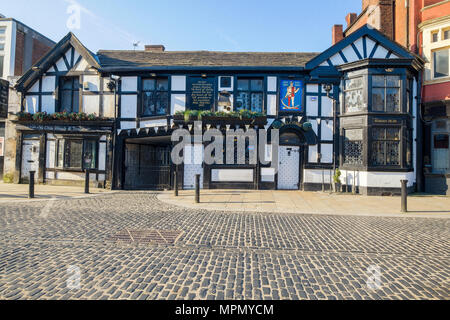 Man and Scythe public house Bolton Lancashire one of the oldest pubs in England - Stock Photo