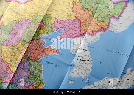Unfolded map of North and South Korea D.P.R Korea and R.O Korea - Stock Photo