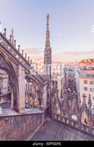 Italy, Lombardy, Milan, Milan Cathedral at sunset - Stock Photo