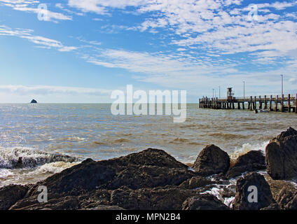Palm Cove beach view to Scout Hat Island and the Jetty - Stock Photo