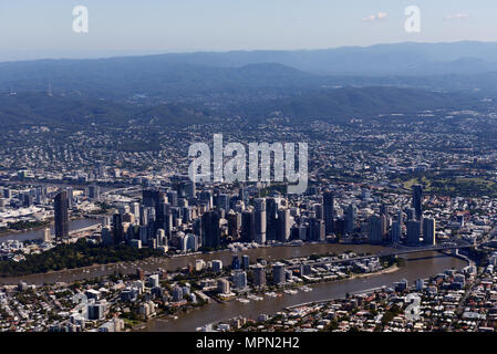 Aerial view of Brisbane's downtown. - Stock Photo