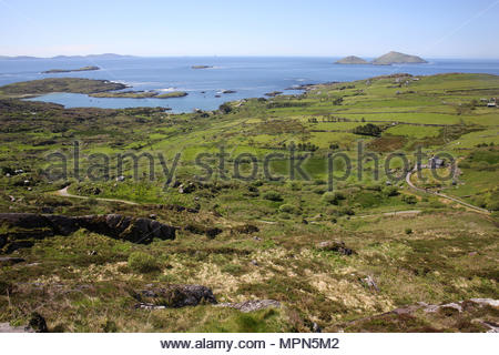 Part of the Irish coastline beyond Derrynane on the Iveragh peninsula in south west Ireland. This is part of the famous Ring of Kerry trip. - Stock Photo