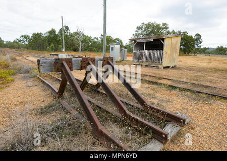 Old railway line and waiting room at Petford, Far North Queensland, FNQ, QLD, Australia - Stock Photo