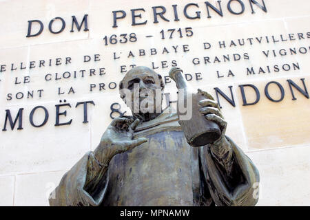 EPERNAY, FRANCE - May 16, 2018: Close up of statue of Dom Perignon at Champagne house Moet & Chandon - Stock Photo