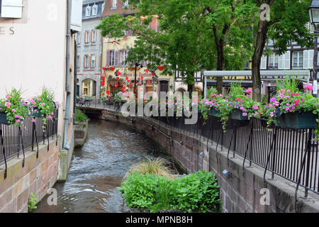 COLMAR, FRANCE - May 17, 2018: Small canal in Colmar, France - Stock Photo
