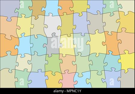 Colorful jigsaw puzzle, vector illustration for your design - Stock Photo
