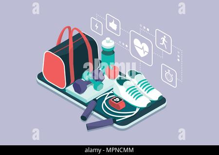 Fitness, training and workout app: sports equipment and icons on a touch screen smartphone - Stock Photo