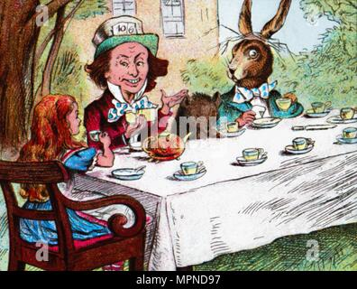 'Alice at the Mad Hatter's Tea Party', c1910. Artist: John Tenniel. - Stock Photo