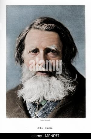 John Ruskin, English critic, poet and artist, c1880s. Artist: Barraud. - Stock Photo