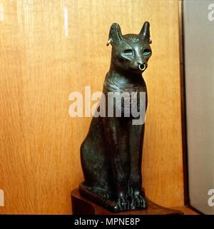 Egyptian Bronze Cat, Sacred to the Goddess Bastet, Roman Period. c664BC-332 BC.  Artist: Unknown. - Stock Photo
