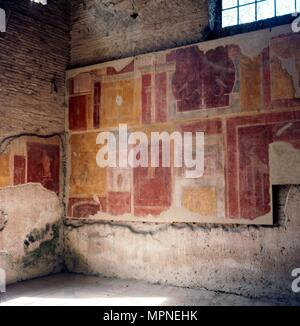 Wall paintings in house in Ostia, 2nd-3rd century. Artist: Unknown. - Stock Photo