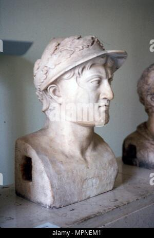 Marble bust of Greek general and statesman Pyrrhus of Epirus, c319BC-272 BC Artist: Unknown. - Stock Photo