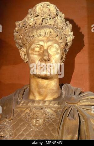 Bust of Nero, Roman Emperor AD54-68, in crown and chestplate, c1st century. Artist: Unknown. - Stock Photo