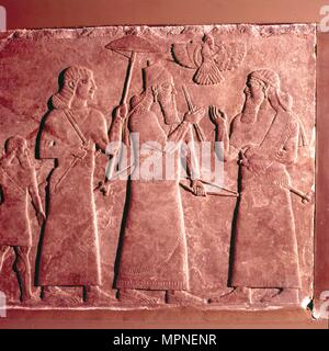 Assyrian Relief,  Ashurnasirpal II with attendants, 9th century BC. Artist: Unknown. - Stock Photo