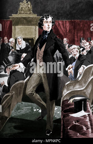 Disraeli's first speech in the House of Commons, 19th century (c1905). Artist: Unknown. - Stock Photo