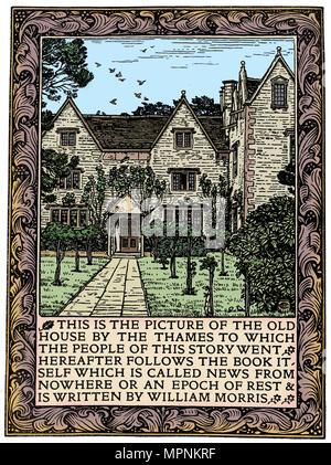 Kelmscott Manor, Gloucestershire, frontispiece to News from Nowhere, c1892 (1901). Artist: William Morris. - Stock Photo