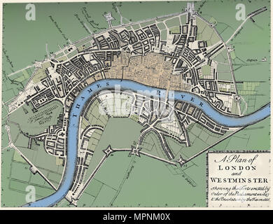 Plan of London and Westminster, 1749 (1903). Artist: Unknown. - Stock Photo