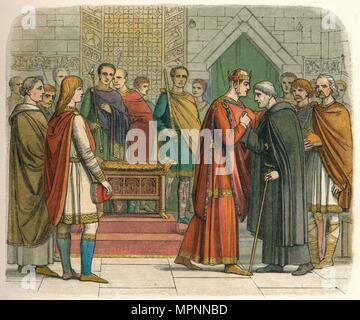 'The King pays court to the English leaders', c1066 (1864). Artist: James William Edmund Doyle. - Stock Photo