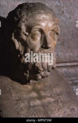 Homer, Roman Portrait Bust, c2nd century Artist: Unknown. - Stock Photo