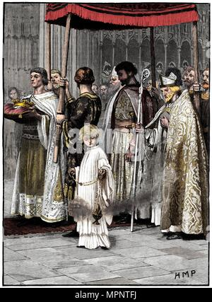 Coronation of Richard I in Westminster Abbey 1189, (c1880). Artist: Unknown. - Stock Photo