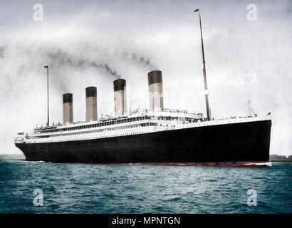 RMS 'Olympic', White Star Line ocean liner, 1911-1912. Artist: FGO Stuart. - Stock Photo