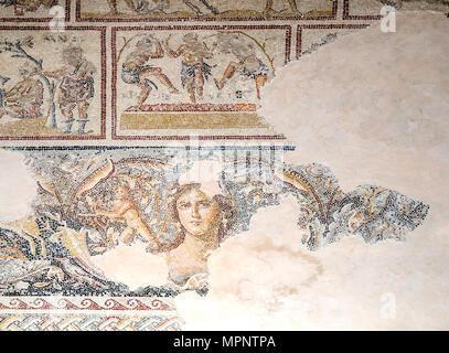 Dionysus Mosaic, Mosaic floor of the roman villa The 'Mona Lisa of the Galilee'. Israel, Lower Galilee, Zippori National Park The city of Zippori (Sep - Stock Photo