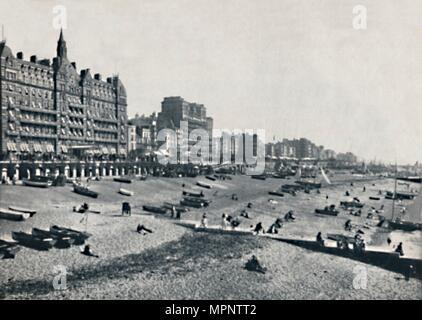'Brighton - The Hotel Métropole and Beach', 1895.  Artist: Unknown. - Stock Photo