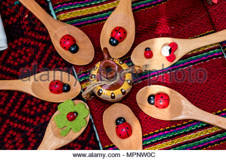 The bulgarian embroidery is a stitch on a fabric decoration. It applies almost all the clothes, part of the Bulgarian folk costume, both in men's and  - Stock Photo