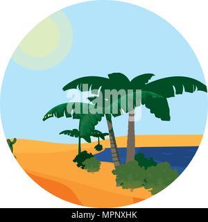 desert palm tree with island landscape - Stock Photo