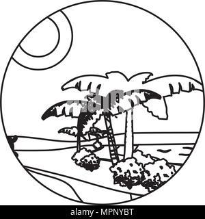 line desert palm tree with island landscape - Stock Photo