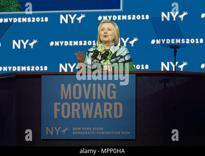 Long Island, USA. 23rd May, 2018. HILLARY CLINTON delivers Keynote Address during Day 1 of New York State Democratic Convention, held at Hofstra University on Long Island. Clinton, the former First Lady and NYS Senator, endorsed the re-election of Gov. A. Cuomo for a third term, and mentioned how Hofstra was the site of her first 2016 debate with Trump. Credit: Ann E Parry/Alamy Live News - Stock Photo