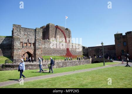 Carlisle Castle, Carlisle Cumbria, UK. 23rd, May, 2018. Weeping Window of  ceramic poppies art installation at Carlisle Castle. The project commemorates the First World War and is by artist Paul Cummins and designer Tom Piper. Part of Blood Swept Lands and Seas of Red installation. Credit: Andrew Findlay/Alamy Live News - Stock Photo