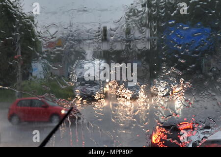 Ceske Budejovice, Czech Republic. 24th May, 2018. Thunderstorms and heavy torrential rain swept over Ceske Budejovice, Czech Republic, May 24, 2018. Credit: Vaclav Pancer/CTK Photo/Alamy Live News - Stock Photo