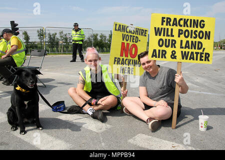 Two Anti-Fracking Protesters with Placards, and their dog too, stage a sit down protest at the gates of the Fracking company 'Cuadrilla's' Frack site during a quiet day of continuing protests. Cuadrilla have applied for an extension and modification of an injunction to make protesting at their site illegal. - Stock Photo