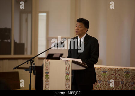Yoshitaka Shindo, member of the National Diet of Japan gives remarks during the Memorial Service of retired U.S. Marine Corps Lt. Gen. Lawrence F. Snowden at the U.S. Marine Memorial Chapel, Quantico, Va., April 8, 2017Snowden retired in 1979 after nearly 40 years of service, fought in engagements during World War II, the Korean War, and Vietnam. He passed away Feb. 18, 2017. He was prominently known after retirement for organizing joint 'Reunion of Honor' missions which is an opportunity for Japanese and U.S. veterans and their families, dignitaries, leaders and service members from both nati - Stock Photo
