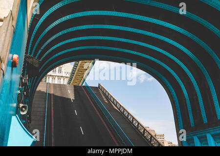 UK, London, close-up of Tower Bridge with lifted road - Stock Photo
