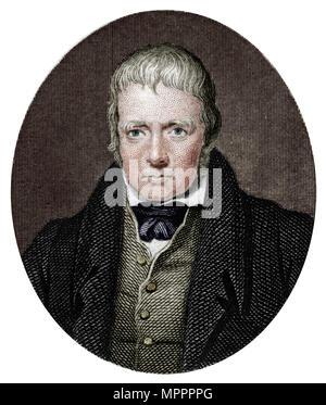Sir Walter Scott, 1st Baronet, Scottish historical novelist and poet, 1877.  Artist: Unknown. - Stock Photo