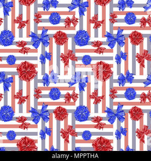 Fourth of July Seamless Pattern with Stripes and Stars Bows on Tricolor Background. Seamless Pattern for Independence Day Celebration. - Stock Photo