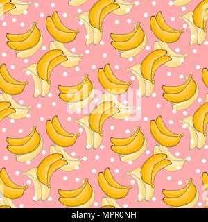 Banana pattern with polka dots. Vector healthy food. - Stock Photo