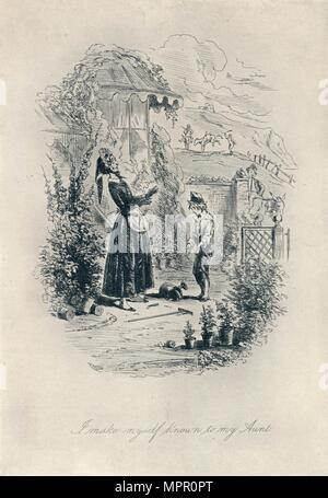 'I Make Myself Known to My Aunt. Etching from 'David Copperfield'', c1840-1880, (1923). Artist: Hablot Knight Browne. - Stock Photo