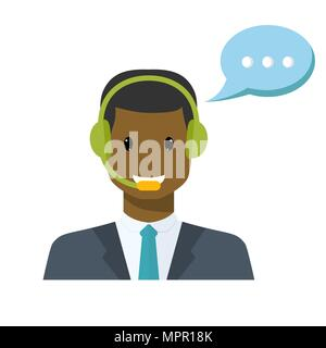 Call center avatar in a flat style with a headset - Stock Photo