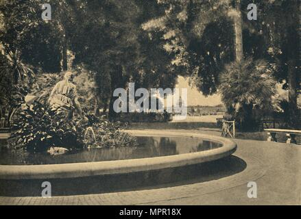'Roma - The Pincio Park. Fountain of Moses, saved from the waters (by Brazza)', 1910. Artist: Unknown. - Stock Photo