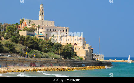 St. Peter catholic church and abbey in Old Jaffa as seen from Tel-Aviv side. Israel. - Stock Photo