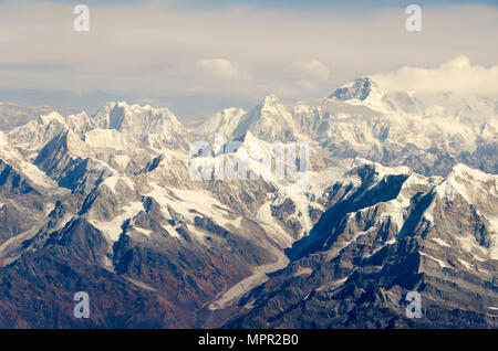 Snow capped mountains, Mount Everest, highest mountain in the world, Himalayas, Nepal - Stock Photo