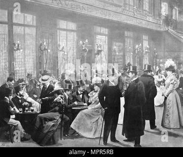 'La Sortie Des Theatres - L'Heure Du Chocolat', 1900. Artist: Unknown. - Stock Photo