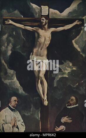 'Christus Am Kreuz, Mit Zwei Stiftern', (Christ on the Cross Adored by Donors), c1590, (1938). Artist: El Greco. - Stock Photo