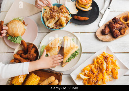Plate of hamburger and chips for kids Stock Photo: 281207188