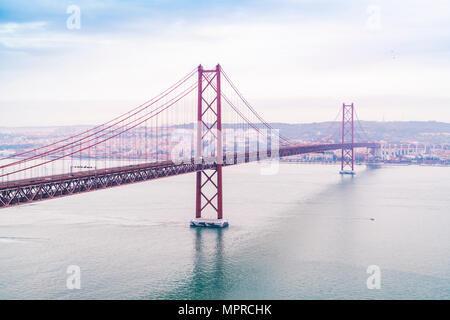 Portugal, Lisbon, Ponte 25 de Abril - Stock Photo