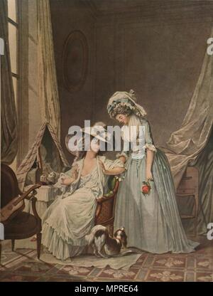 'L'Aveu Difficile', (Difficult Confession), 1787, (1913). Artist: Jean Francois Janinet. - Stock Photo